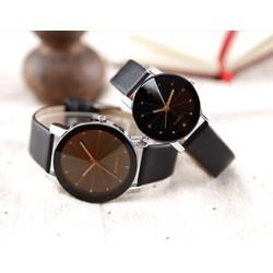 Cặp Đồng hồ mặt đá thạch anh dây da sang trọng, giá rẻ hấp dẫn