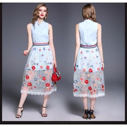 Đầm xoè sơ mi phối chân váy lưới thêu ngoài KL26717