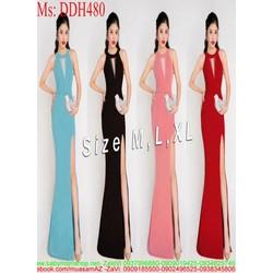 Đầm dạ hội cách điệu kiểu cổ yếm xinh đẹp và xẻ đùi sexy DDH480