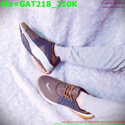 Giày thể thao nam cổ thấp màu nâu phối dây xanh GAT218