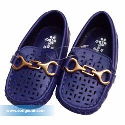 Giày mọi da cho bé trai Honey bees màu xanh