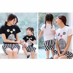 Set đồ đôi quần sọc ngắn cho mẹ và bé