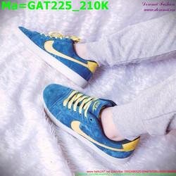 Giày thể thao nam cổ thấp màu xanh dương phối viền vàng GAT225