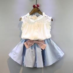 Set áo ren bé gái chân váy đính nơ
