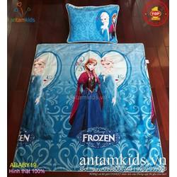 Bộ Chăn gối cho bé gái đi học Công chúa Elsa Anna xanh dương dễ thương