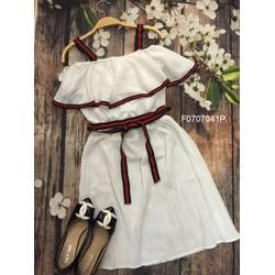 Đầm xòe viền bèo cột eo 2 dây hàng thiết kế! - MS: S070760 GS 140K