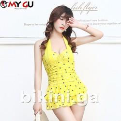 Bộ bikini xinh xắn, đáng yêu BI02 - Vàng chấm bi