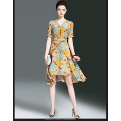 Đầm vintage hạo tiết hoa trái tim
