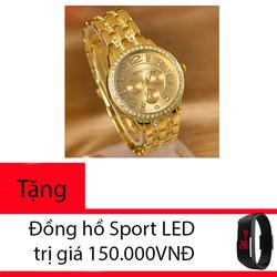 Đồng hồ nữ Geneva G9 màu Vàng tặng kèm đồng hồ Sport LED