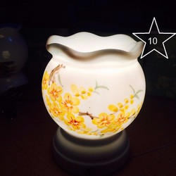 Bộ đèn xông tinh dầu gốm Bát Tràng sứ thấu quang