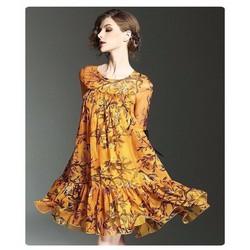 Đầm suông họa tiết chim