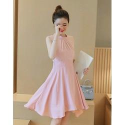 Đầm xòe cổ trụ xếp ly màu hồng D281