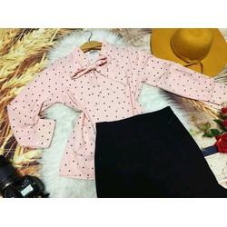 Set áo  bi  cột  nơ phối  váy   _  HÀNG THIẾT KẾ