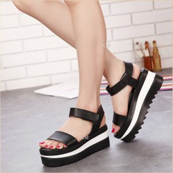 Giày sandal bánh mì kép 1 quai ngang | giày sandal nữ đế bánh mì