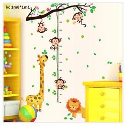 decal dán tường đo chiều cao khỉ