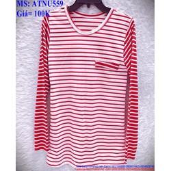 Áo thun nữ dài tay kẻ sọc trắng đỏ trẻ trung ATNU559