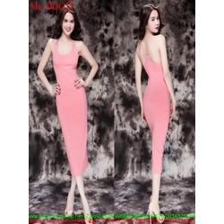 Đầm body 2 dây form dài màu hồng dễ thương DOC55