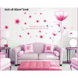 decal dán tường hoa pha le hồng