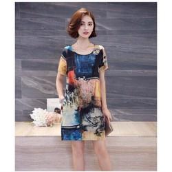 Đầm suông họa tiết 3D