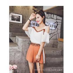 Sét áo trễ vai + quần short viền kim sa so hot - SETKN1772