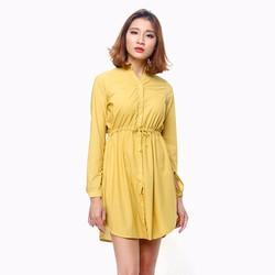 Đầm nữ thời trang tay dài cổ trụ màu vàng
