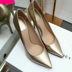 giày cao gót bít mũi vàng kim tuyến