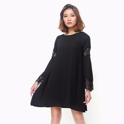 Đầm tay dài phối ren huyền bí màu đen