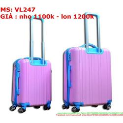 Vali kéo du lich nhựa viền màu đẹp nổi bật sành điệu VL247