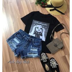 Set quần short jeans rách áo thun _MÕ CHU SHOP