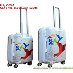 Vali kéo du lich nhựa hình chim giấy nhiều màu nổi bật VL240