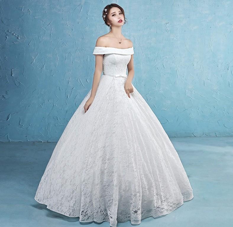 áo cưới xoè vai ngang, có nơ eo cung cấp sỉ lẻ áo cưới toàn quốc 2