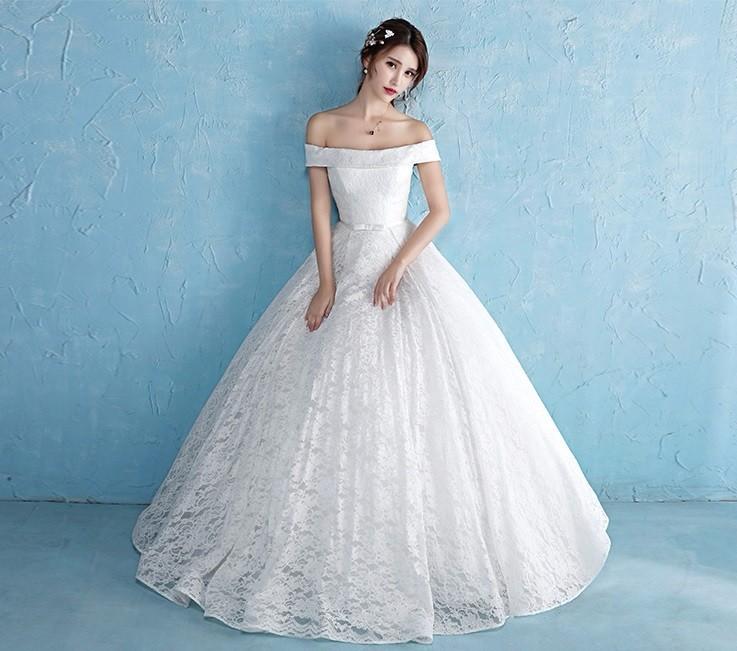 áo cưới xoè vai ngang, có nơ eo cung cấp sỉ lẻ áo cưới toàn quốc 3