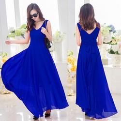 Đầm maxi cao cấp màu xanh cổ V sát nách
