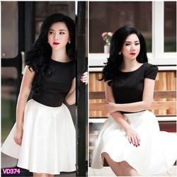 Set áo đen tay con chân váy trắng xòe VD374