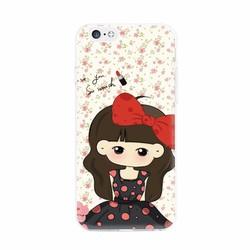 Ốp lưng hình cô bé nơ đỏ iphone 5-5s-5 se-6-6s-6 plus-6s plus