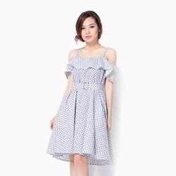 Đầm xòe rớt vai nịt eo Cirino chấm bi đen size M