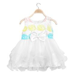Đầm công chúa cao cấp đính nơ eo xinh xắn màu trắng -size 2