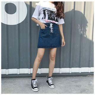 Chân váy jean ngắn cột dây 01 cao cấp - Váy jean nữ - C008 thumbnail