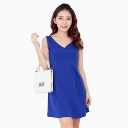 Đầm xòe cổ V xuất khẩu - TH MISA-xanh coban-size M