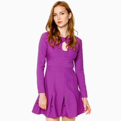 Đầm xòe phối bèo cách điệu màu tím
