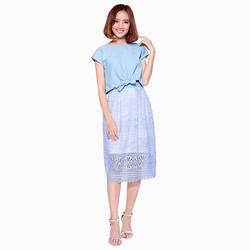 Set áo croptop  chân váy ren cao cấp màu xanh Polaris15
