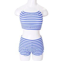 Set đồ bơi áo yếm quần short họa tiết sọc xanh