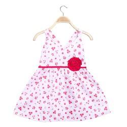 Đầm bé gái 2 dây chéo lưng hoa đào xinh xắn màu hồng -size 7