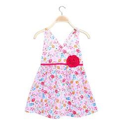 Đầm bé gái 2 dây chéo lưng hoa xinh xắn màu hồng - size 7