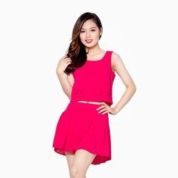 Set áo voan  quần giả váy màu hồng