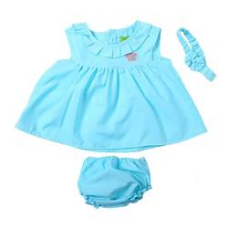 Set 3 món cho bé gái đính họa tiết xinh xắn màu xanh -size 2