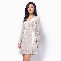 Đầm xòe nhung cao cấp F21      màu xám size  M