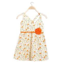 Đầm bé gái 2 dây chéo lưng hoa xinh xắn màu vàng - size 7