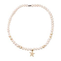 Dây chuyền Ngọc trai Trắng mặt sao biển Vàng