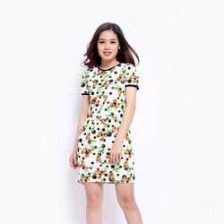 Set áo phối chân váy họa tiết hoa chấm bi đen